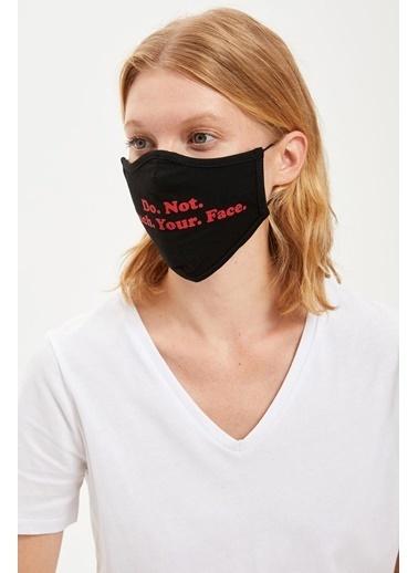 DeFacto Yazı Baskılı Yıkanabilir Maske Siyah